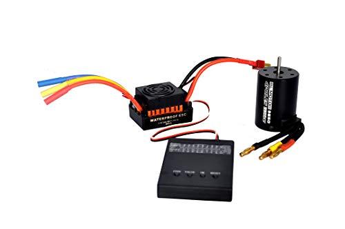 Shaluoman Upgrade RC Waterproof 3650 3900KV RC Brushless Motor 60A ESC  Programmer for 110 RC Car Truck Motor kit 60A ESC Gold  3650 3900KV Brushless Motor  Programmer