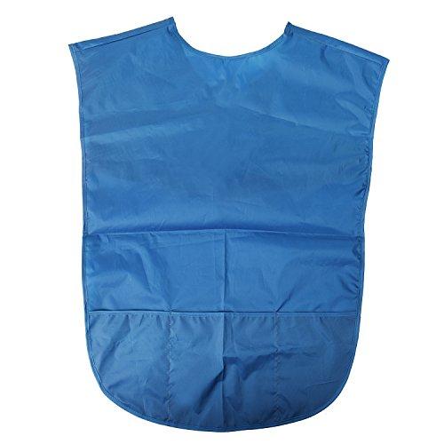 Blulu Kids Art Smock Children Painting Apron with Pocket Easy to Wear Waterproof Blue