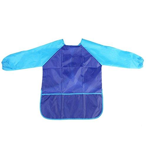 HKYIYO Long Sleeve Tarpaulins Waterproof Children Apron for Kids Drawing Painting Cooking Art Smock - Blue