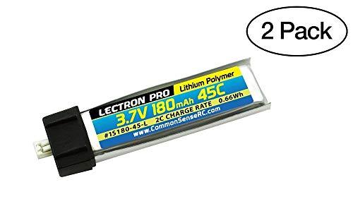 Common Sense RC 2-Pack of Lectron Pro 37 Volt - 180mAh 45C Lipos for Blade mCX mCX2 mSR mSR X Nano QX Nano CPX and UMX AS3Xtra