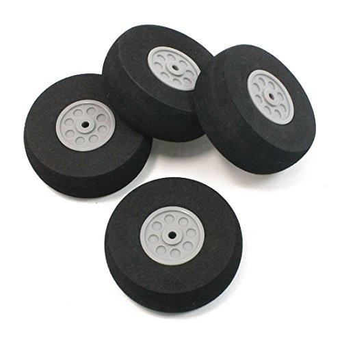 RC Plane Wheel - TOOGOOR 4 Pcs Gray Plastic Hub Black Foam Wheel 55mm Dia for RC Aircraft Model Toy