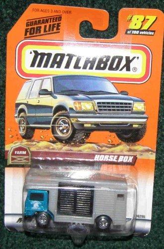 MATCHBOX 1999 87 FARM SERIES TEAL GREY HORSE BOX TRUCK HORSE IN BACK by Matchbox