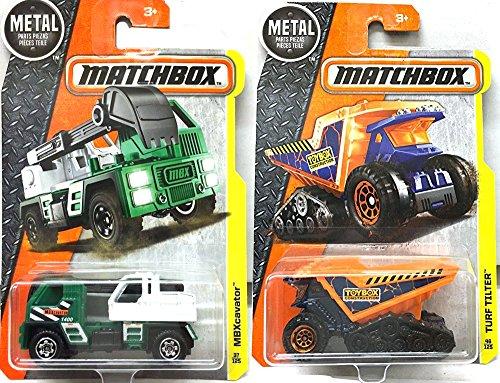 MBX Construction set Matchbox 2016 MBXcavator 37 New Model  Turf Tilter 46 Dump Truck in PROTECTIVE CASES