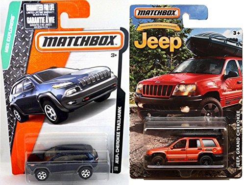 Matchbox Jeep Grand Cherokee 4 x 4 Exclusive  Jeep Cherokee Trailhawk 102 Blue truck set Matchbox Explorer vehicles