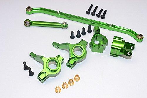 Axial SCX10 Upgrade Parts Aluminum Front C-Hub Front Knuckle Arm Toe-In 5 Degree SCX160 Tie Rod - 6Pcs Set Green