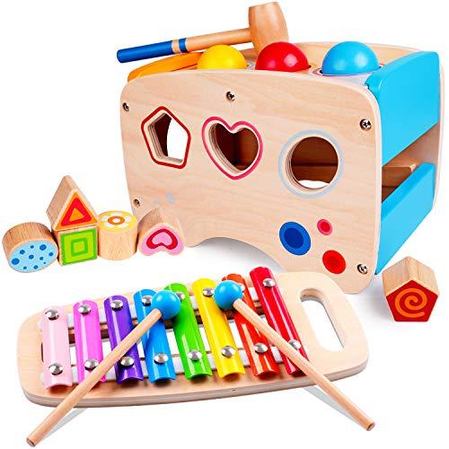 rolimate Hammering Pounding Toys Wooden Educational Toy Xylophone Shape Sorter Birthday Gift for 1 2 3 Years Boy Girl Baby Toddler Kids Developmental Montessori Learning Block Ball Toy Fine Motor