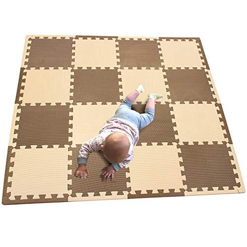 MQIAOHAM 16pcs16 Edges Interlocking Soft Kids Baby EVA Foam Activity Play Mat Floor Tiles Coffee Beige 106110Z16