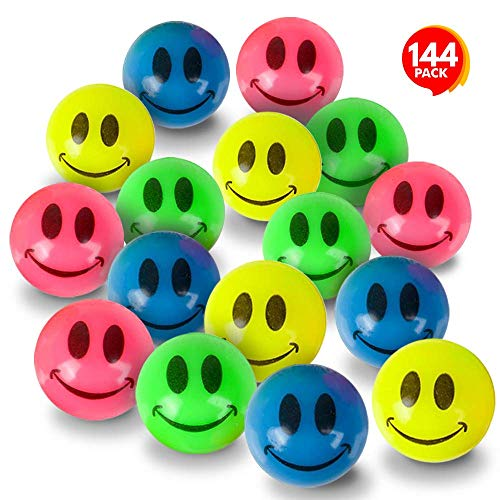 ArtCreativity Mini Smile Face Bouncing Balls - Bulk Pack of 144-1 Inch Bouncy Balls in Assorted Bright Neon Colors - Best Birthday Party Favors and Piñata Fillers for Boys and Girls