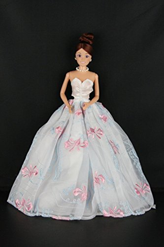 White Ball Gown with Blue and Pink Accents Made to Fit the Barbie Doll