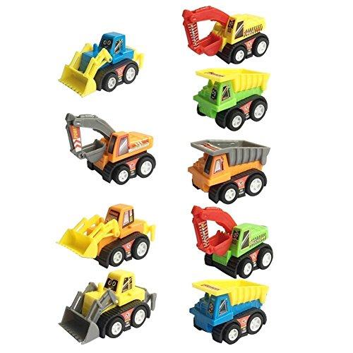 Mini Push Pull Back Car Model Kit Set Plastic 9 Pcs Play Vehicle Construction Excavator Dump Truck Playset Preschool Learning for Children Toddlers Kids Birthday Gift