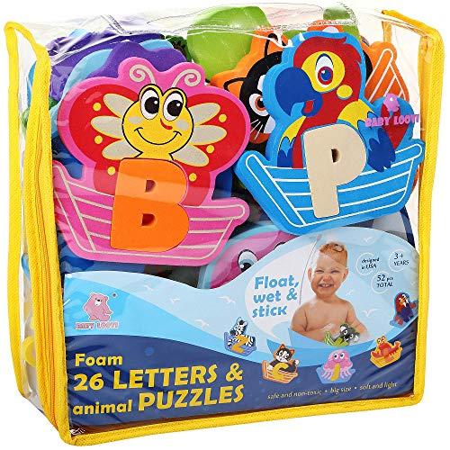 Foam Bath Toys 100 Non-Toxic Bathtub Alphabet - Free Bath Toy Organizer - Fun Foam Puzzles - Educational Floating Toys for Boys Girls - Early Learning Letters Animals Colors - 52 Pcs - Set №2