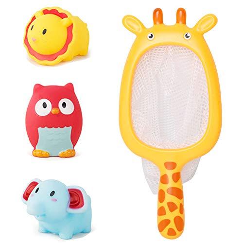Aland-47Pcs Lion Owl Animal Dolls Fishing Net Water Spray Interactive Kids Bath Toys - 3 Animal