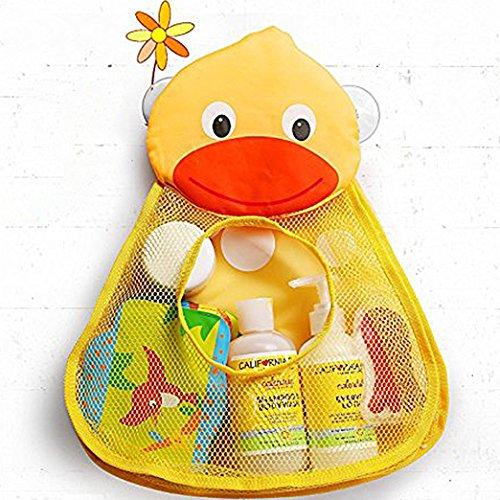Bath Tub Toy Organizer Adorable Duck Shape Mesh Net Bath Toy Holder Large Storage w Two Heavy Duty Suction Cups Yellow