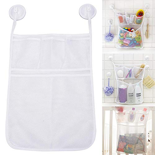 IMSHI 2PCS Mesh Bath Toy Organizer with Ultra Strong Hooks - The Perfect Net for Bathtub Toys Bathroom Storage - These Multi-Use Organizer Bags Make Bath Toy Storage Easy - For Kids Toddlers Baby