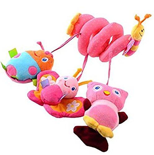 HOSIM Baby Activity Toys Crib Stroller Hanging Crib Decorations Wrap Around Cot Rail Stroller Pushchair Pram Toy Pink Butterfly