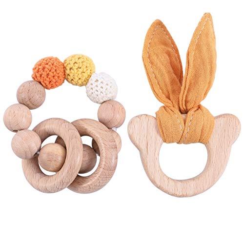 2packs Yellow Crochet Beads Teething Bracelet Food Grade Materials Mini Wooden Bear Head Teether Toy Cute Cotton Rabbit Ears Sensory Baby Gym Toy Neutral
