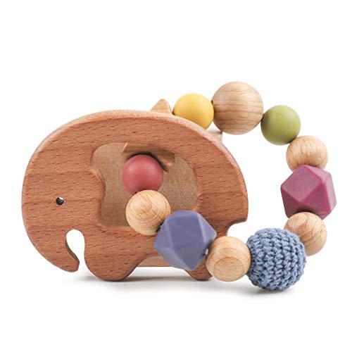 Wooden Teether Toys Olive Oil Treatment Wood Elephant Teething Bracelet Safety Organic Infant Montessori Toy