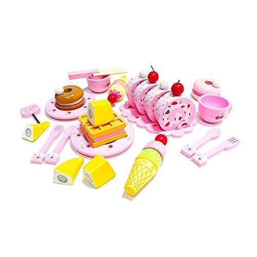 Kes-B Cherry Bear Dessert Snack Set 984 x 827 x 669 Child Afternoon Tea Pretend Play Kitchen Toys Educational Wooden Play Food Toys