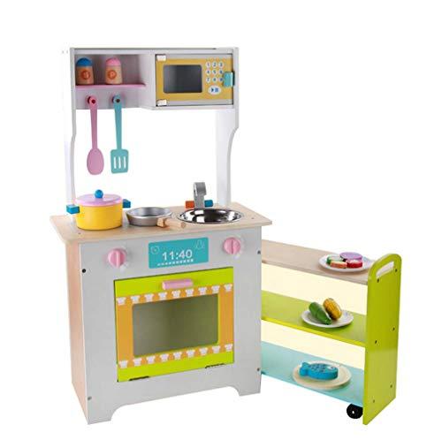 QIDUll Childrens Wooden Toy KitchenWooden Kitchen Cooking Toys Learner Set Kitchen Set for Kids Play Kitchen