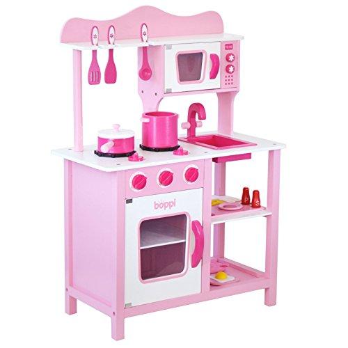 boppi Wooden Toy Kitchen with 19 Piece Accessories Set