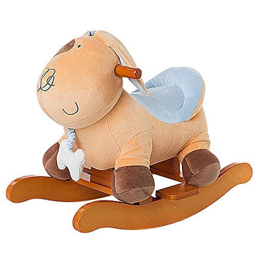 Labebe Child Rocking Horse Plush Stuffed Animal Rocker Toy Yellow PuppyDog Plush Rocker for Kid 1-3 Years Wooden Rocking Horse ToyChild Rocking ToyOutdoor Rocking HorseRockerAnimal Ride on