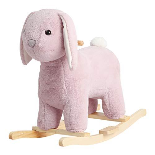 Rocking Horse Small Trojan Rocking Horse Toy Plush Child Solid Wood Seat Music Baby Gift FANJIANI