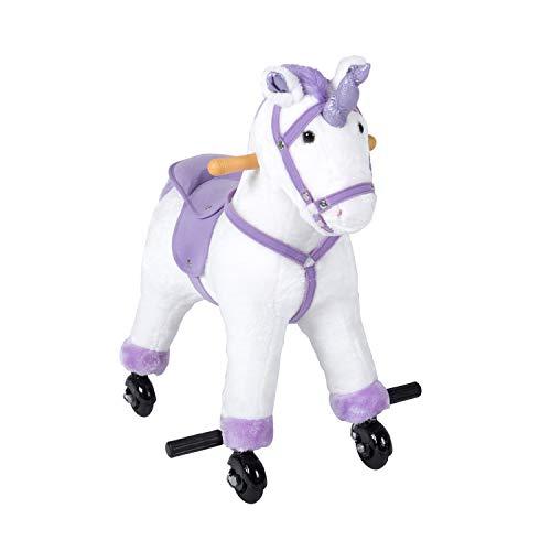 kinbor Rocking Horse Plush Kids Baby Girls Boys Pony Rocking Horse Unicorn Ride on Toy Walking Horse Childrens Day Birthday Gift with Wheels Neigh Sound