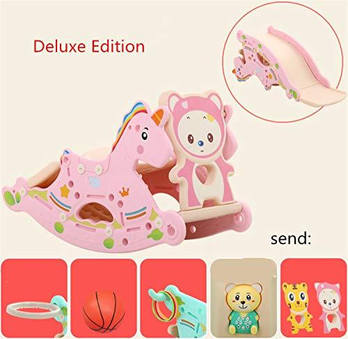 BIANJESUS Baby Plastic Rocking Horse Toy Kid Rocker Animal Ride Kid Rocking Toy Kid 1-3 Years Slider Detachable Outdoor Basketball Pink