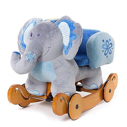 Ainfox Plush Elephant Children Rocking Horse Blue Wood