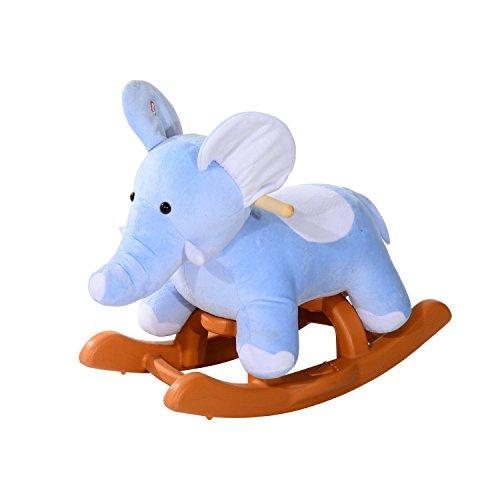 GHP Kids Little Elephant Style 132-Lbs Capacity Plush Rocking Horse