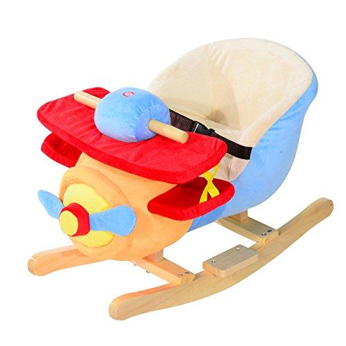 Kids Plush Rocking Horse Airplane with Nursery Rhyme Sounds Rocking Plush Animal Brown