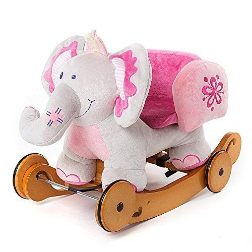 Summer Promotion Plush Elephant Children Rocking Horse Pink Wood