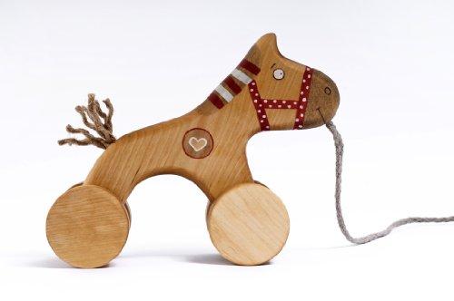 Kids Baby True Handmade Wooden Toy Art Craft Red Horse Pull