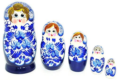 Unique Authentic Russian Hand Painted Floral Blue w-Whte Flower Nesting Dolls Set of 5 Pc Matryoshkas