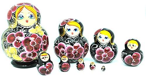Unique Authentic Russian Hand Painted Handmade Black Floral Nesting Dolls Set of 10 Pcs Matryoshkas