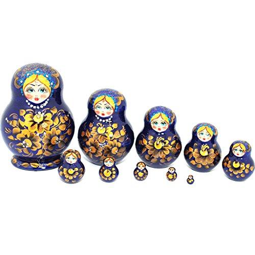 Unique Authentic Russian Hand Painted Handmade Blue Nesting Dolls Set of 10 Pcs Matryoshkas