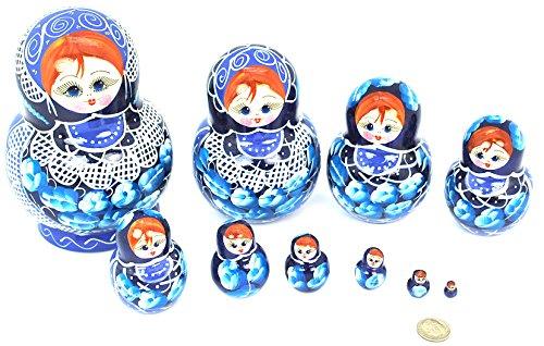 Unique Authentic Russian Hand Painted Handmade Blue Nesting Dolls Set of 10 Pcs Matryoshkas Christmas