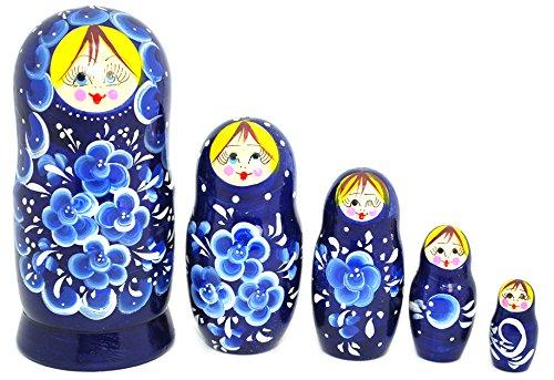 Unique Authentic Russian Hand Painted Handmade Blue Nesting Dolls Set of 5 Pcs Matryoshkas