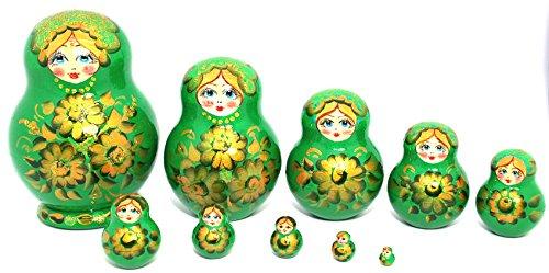 Unique Authentic Russian Hand Painted Handmade Green Nesting Dolls Set of 10 Pcs Matryoshkas