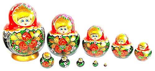 Unique Authentic Russian Hand Painted Handmade Red Nesting Dolls Set of 10 Pcs Matryoshkas Christmas