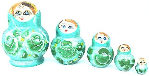 Unique Authentic Russian Hand Painted Handmade Teal Green Nesting Dolls Set of 5 Pcs Matryoshkas 4