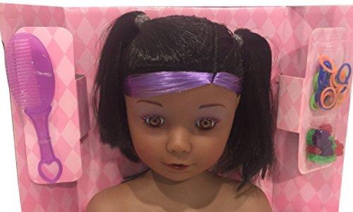 Glitzy Girl Hair Stylist Doll - Beauty Salon - Hair Styling Doll - Styling Head Doll African American - 50 Pieces
