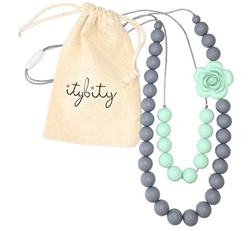 Baby Teething Necklace for Mom Silicone Teething Beads BPA Free GrayMint