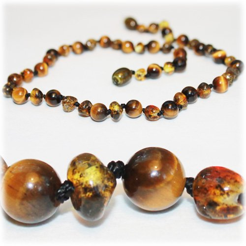 The Art of Cure Baltic Amber Semi-Stone Baby Teething Necklace - Many to Choose From 125 inches Tigers Eye Green