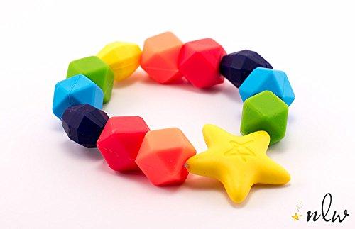 New Little Wonders Baby Teether The Original Rainbow Charm Teething Ring BPA-Free Latex Free