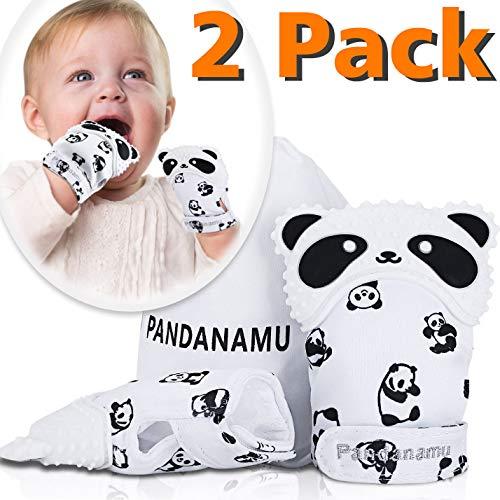 Baby Teething Mitten Panda Shape Teether Mitten BPA-Free Food-Grade Silicone Teething Glove Infant Mitt Teething Toy1 Pair with Carry Bag