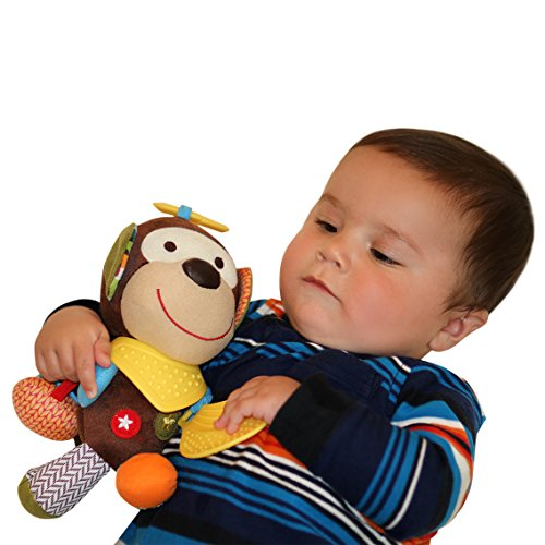 Abu the Monkey Teether Plush ToyRelief from Teething PainPerfect for Stroller Crib and Car Seat