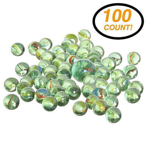 RamPro 100 Pieces Glass Marbles - Marble Balls Glass Mega Marbles Toy Shooter Marbles for Marbles Game Classic Marbles Table Scatter Colored Glass Marbles Beautiful Marbles Toys