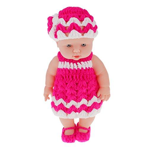 11 Lifelike Baby Dolls Vinyl Soft Newborn Doll in Pink White Knit Suit
