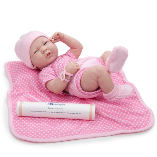 JC Toys 18541 La Newborn Boutique 14 Inch Doll 9 Piece Set Real Girl in Pink